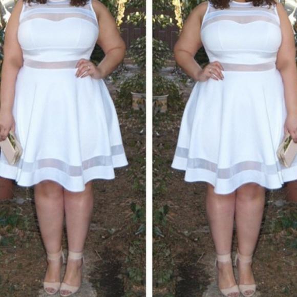 ffe8b5b9fbb Ashley Stewart Dresses   Skirts - Ashley Stewart White swing dress with  mesh detail